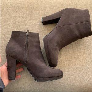 Dark gray Zippered High Heel Booties